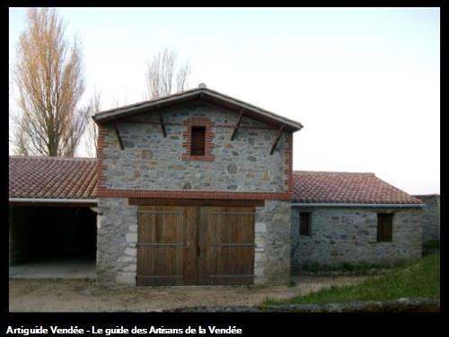 Création garage habillage pierres et briques - Le Vieil